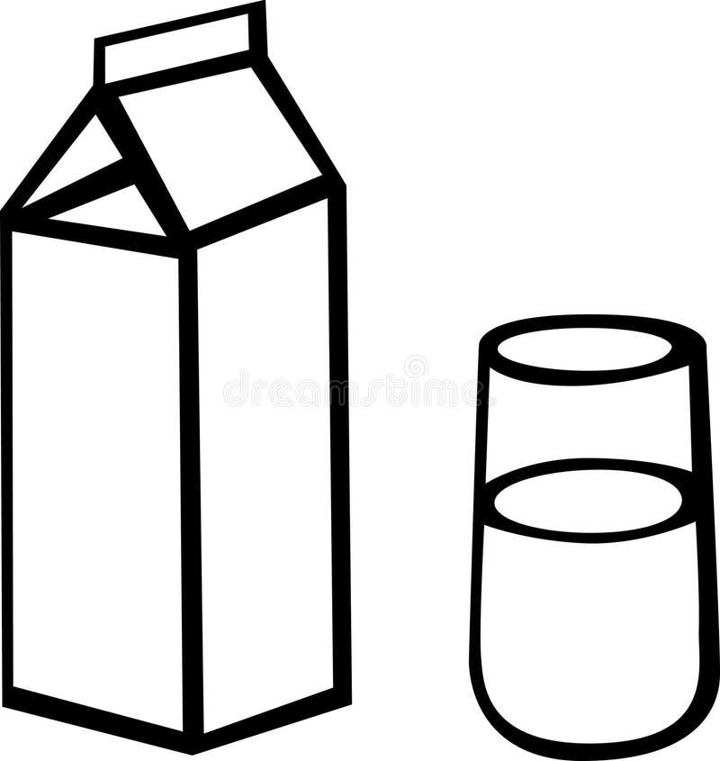 Scatola e vetro del latte illustrazione di stock