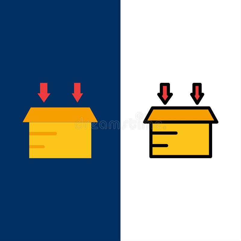 Scatola, icone logistiche e aperte Il piano e la linea icona riempita hanno messo il fondo blu di vettore illustrazione di stock
