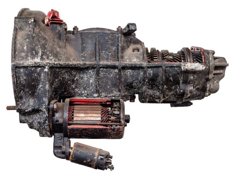 Scatola ingranaggi dell'automobile dell'annata isolata su bianco immagine stock libera da diritti