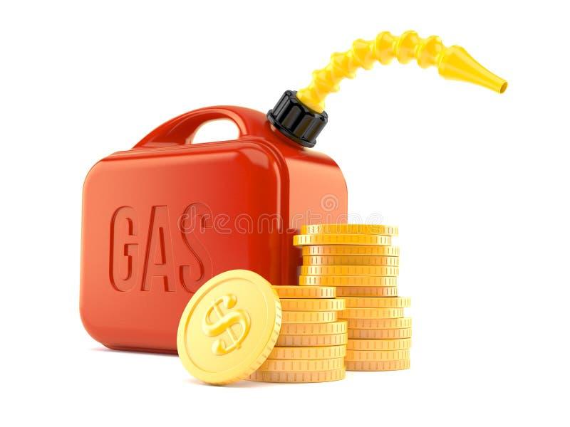 Scatola metallica della benzina con la pila di monete illustrazione vettoriale