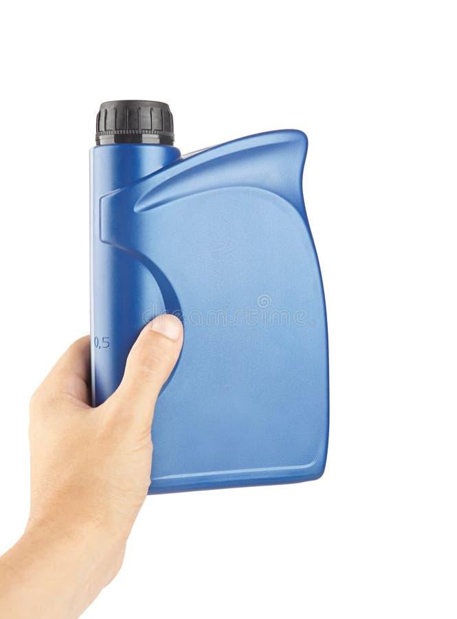 scatola metallica di plastica blu per i lubrificanti a disposizione, contenitore per chimica isolato immagini stock