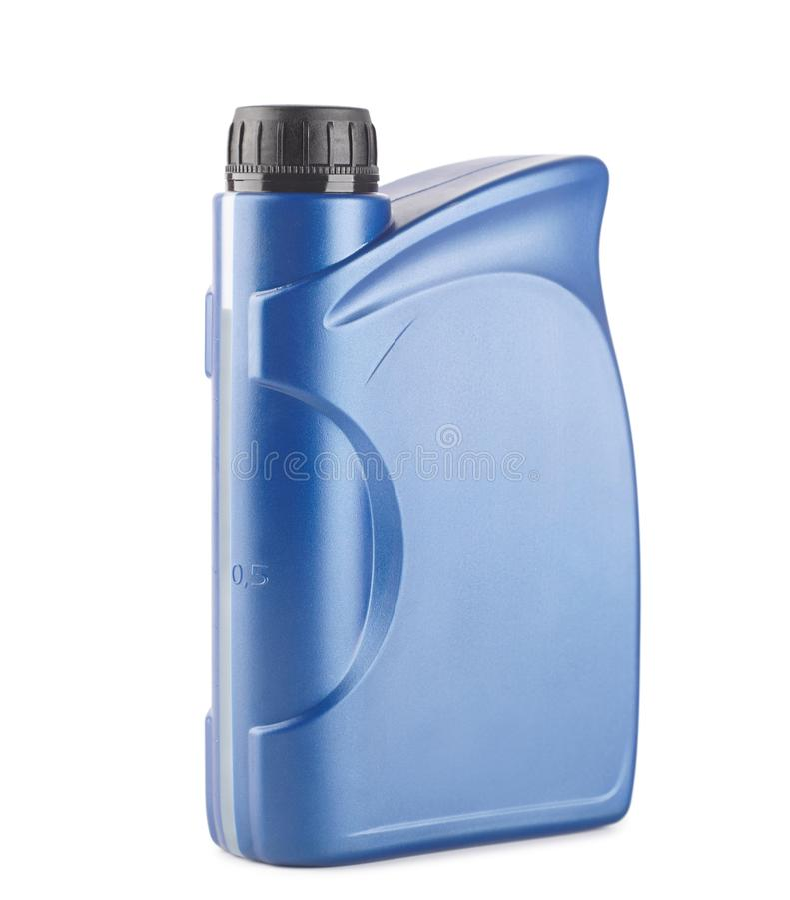 scatola metallica di plastica blu per i lubrificanti senza etichetta, contenitore per i prodotti chimici isolati immagine stock libera da diritti