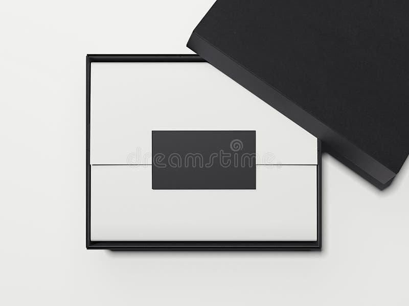 Scatola nera con carta da imballaggio ed il biglietto da visita bianchi rappresentazione 3d illustrazione di stock