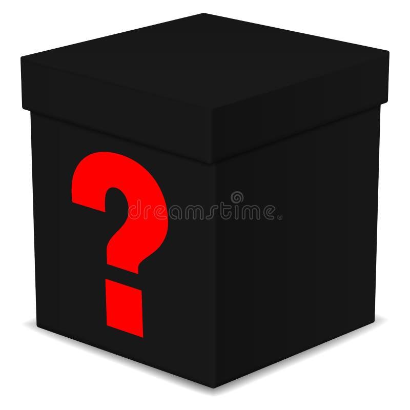 Scatola nera misteriosa con il punto interrogativo illustrazione vettoriale