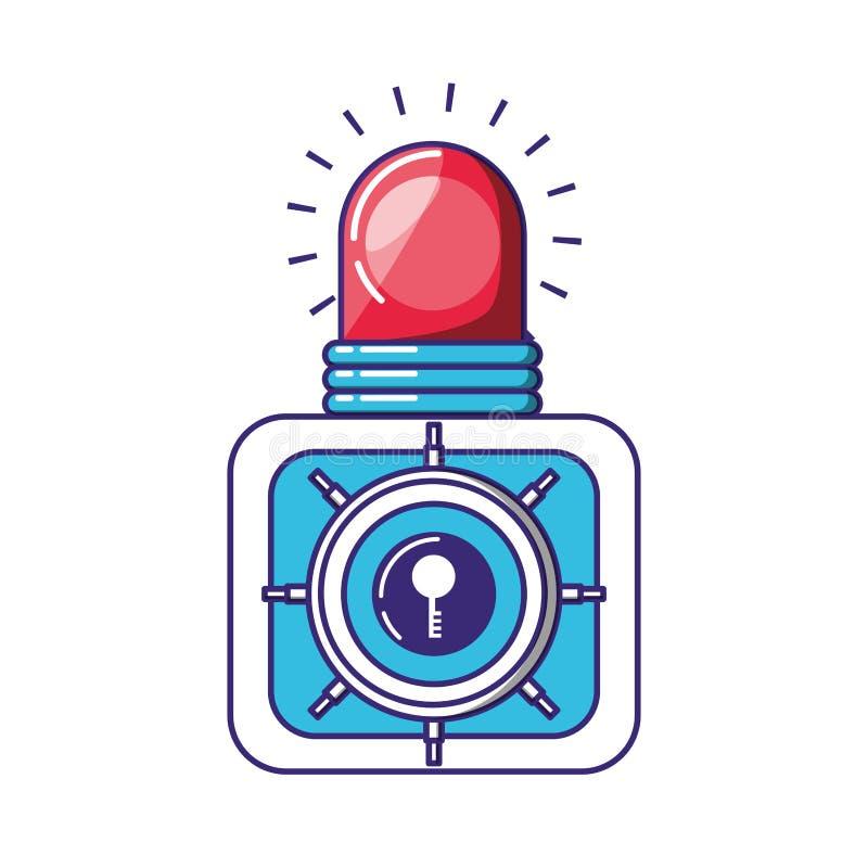Scatola pesante sicura con la luce dell'allarme illustrazione di stock