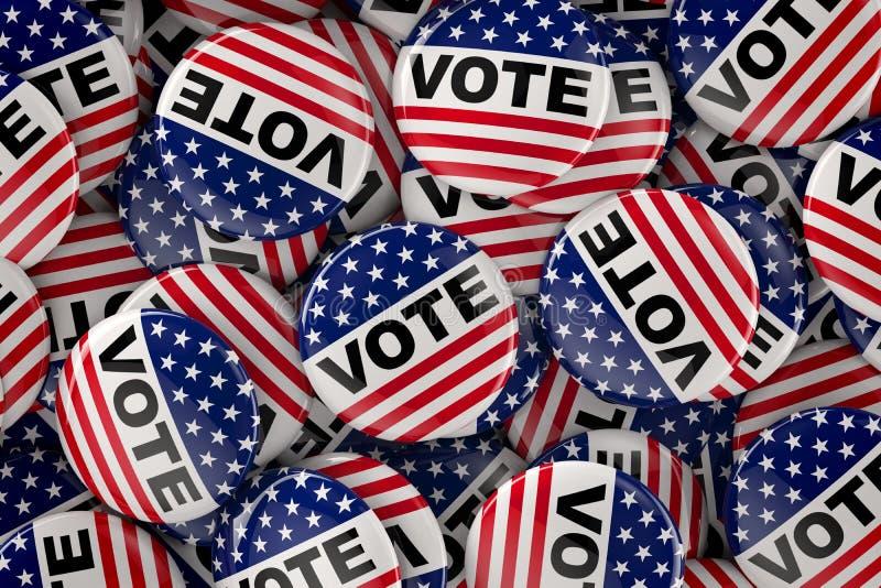 Scatola in pieno di bottoni di voto illustrazione vettoriale
