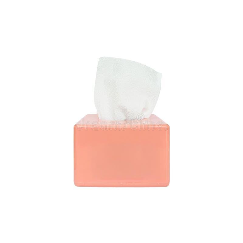 Scatola rosa del primo piano di carta igienica con la carta igienica bianca isolata su fondo bianco con il percorso di ritaglio fotografie stock libere da diritti