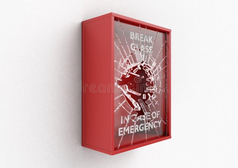 Scatola rossa della rottura in caso d'emergenza illustrazione di stock