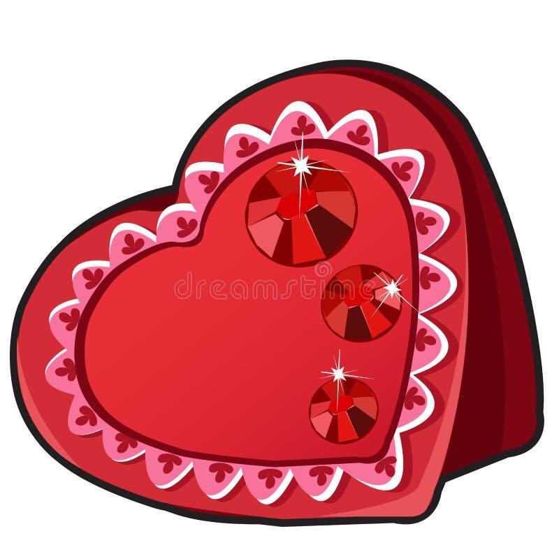 Scatola rossa nella forma del cuore con i gioielli vermigli illustrazione di stock