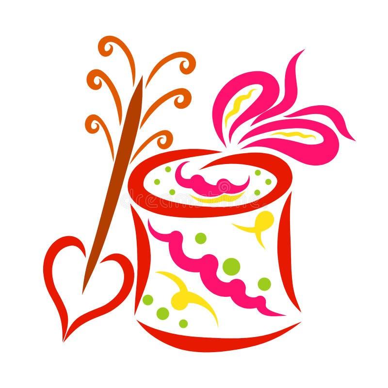 Scatola variopinta con il regalo e freccia con cuore illustrazione di stock
