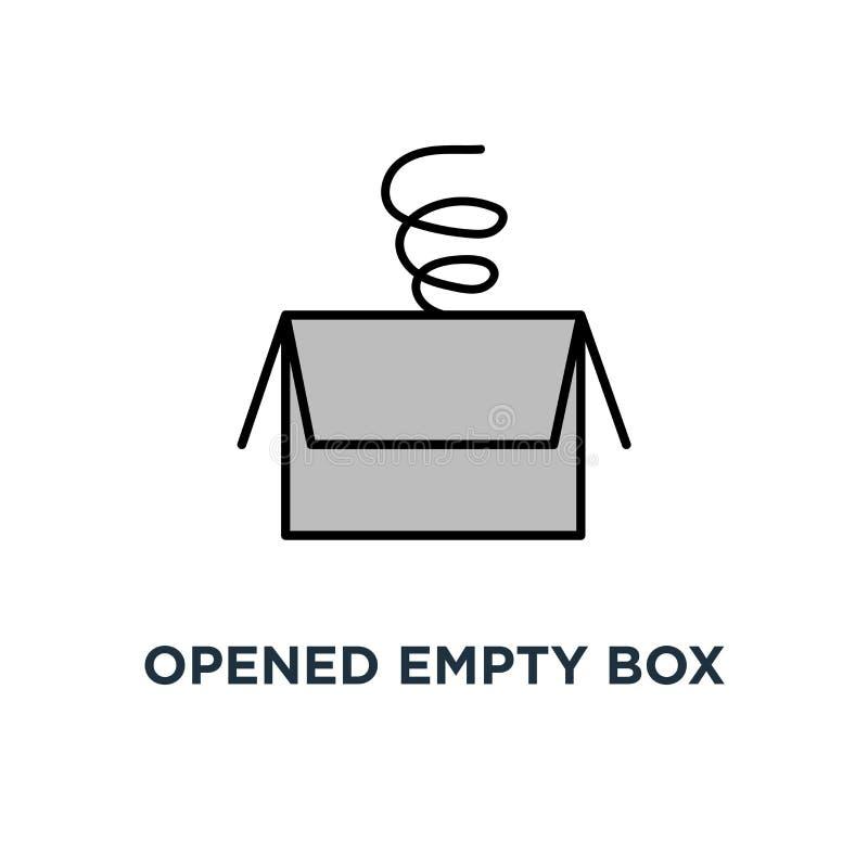 scatola vuota aperta con il fronte frustrato sveglio, l'icona vuota del carrello, il simbolo della scatola di consegna o il pacch illustrazione di stock