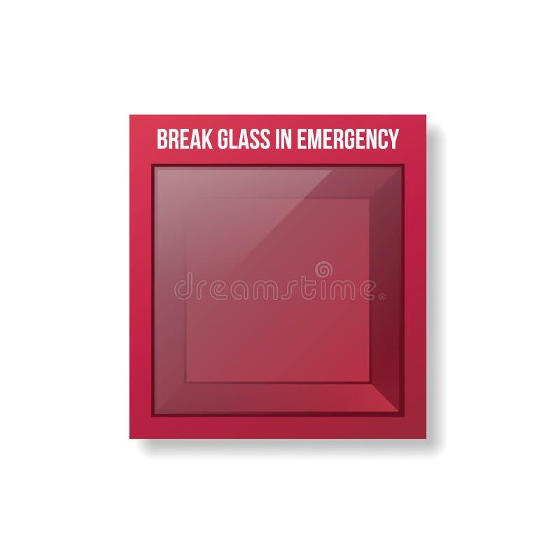 Scatola vuota di emergenza Scatola rossa con la parte anteriore di vetro illustrazione di stock