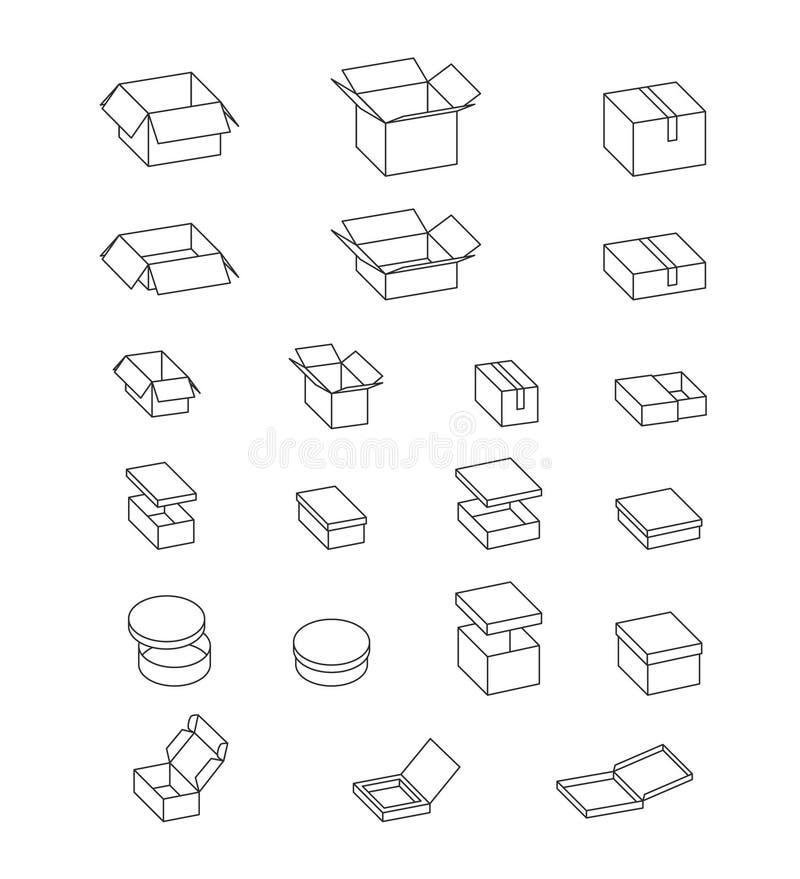 scatole aperte e chiuse Insieme delle scatole di cartone Cartone isolato che imballa sull'illustrazione bianca e semplice Vettore illustrazione di stock