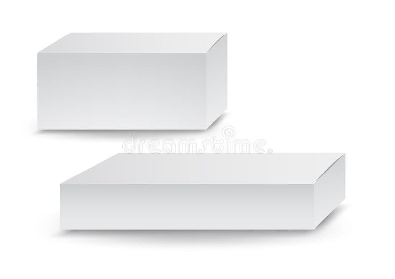 Scatole bianche, pacchetto, 3d scatola, progettazione, illustrazione di vettore royalty illustrazione gratis