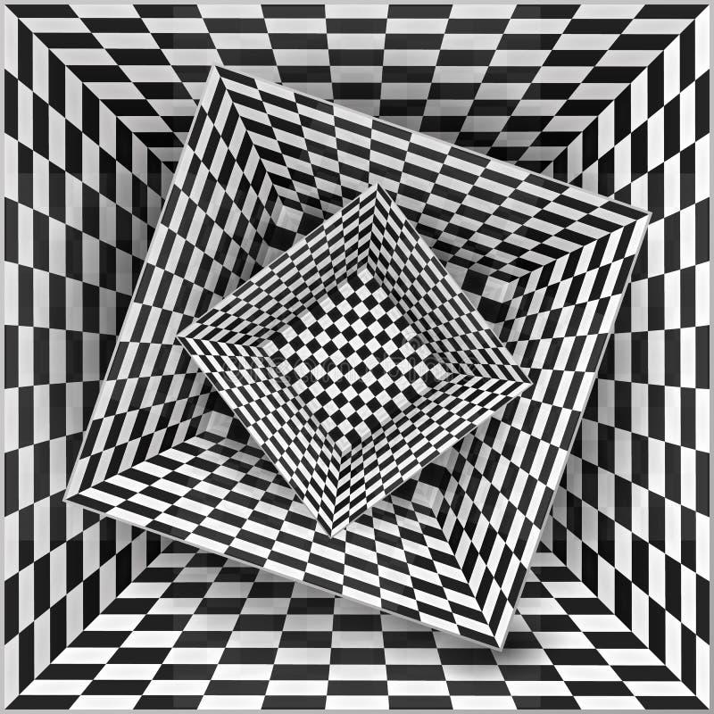 Scatole in bianco e nero del modello della scacchiera, astratte illustrazione vettoriale