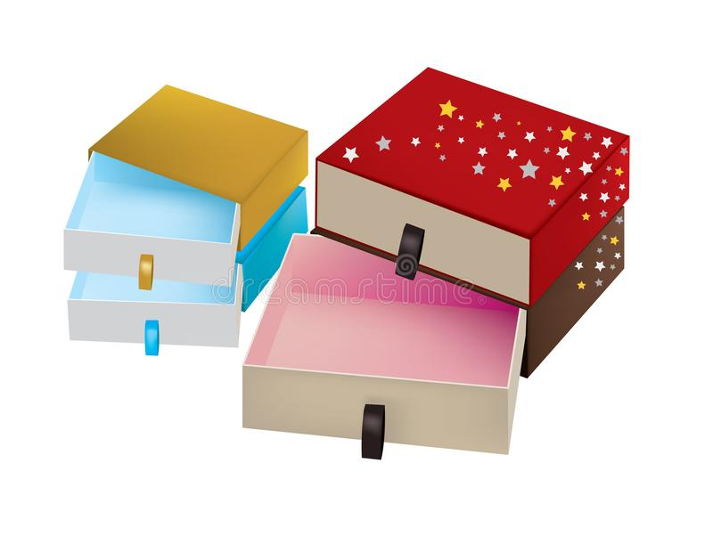 Scatole colorate - imballare isolato illustrazione di stock