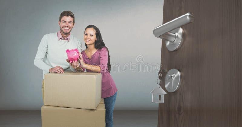 scatole commoventi della gente nella nuova casa royalty illustrazione gratis