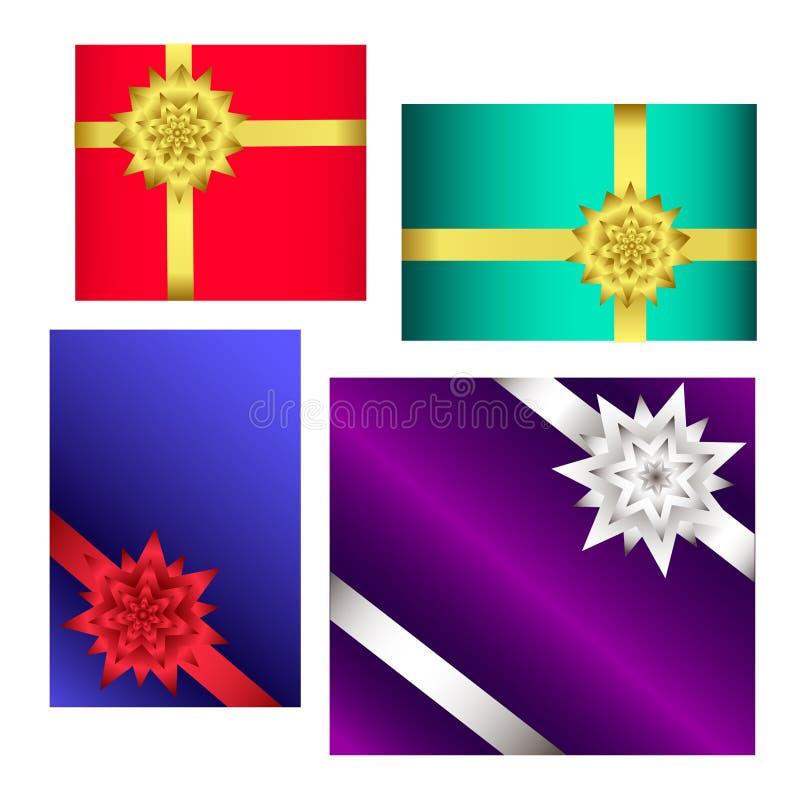 Scatole dei colori con i regali e nastri isolati su fondo bianco royalty illustrazione gratis