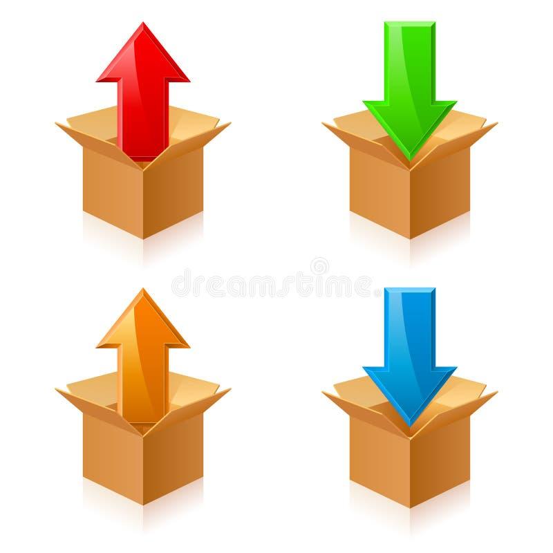 Scatole dei colori e frecce illustrazione di stock