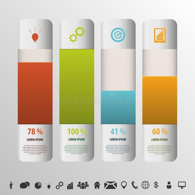 Scatole dei colori Vettore del grafico di stile delle percentuali di Infographic royalty illustrazione gratis