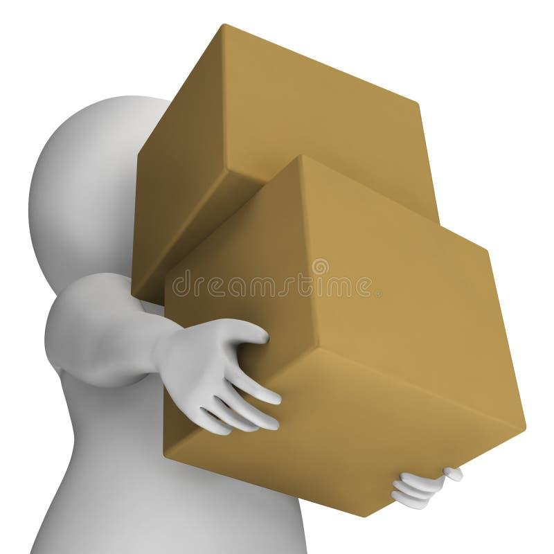 Scatole della tenuta dell'uomo che mostrano consegna e che portano i pacchetti illustrazione di stock