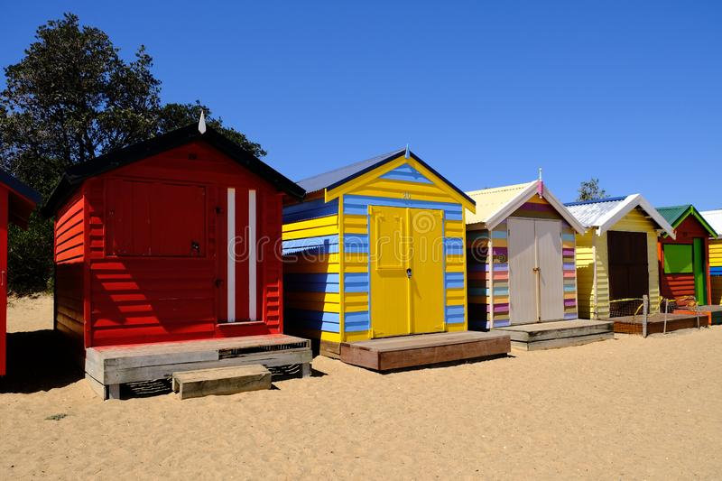 Scatole di bagno Colourful in Brighton Beach, Melbourne, Australia immagine stock