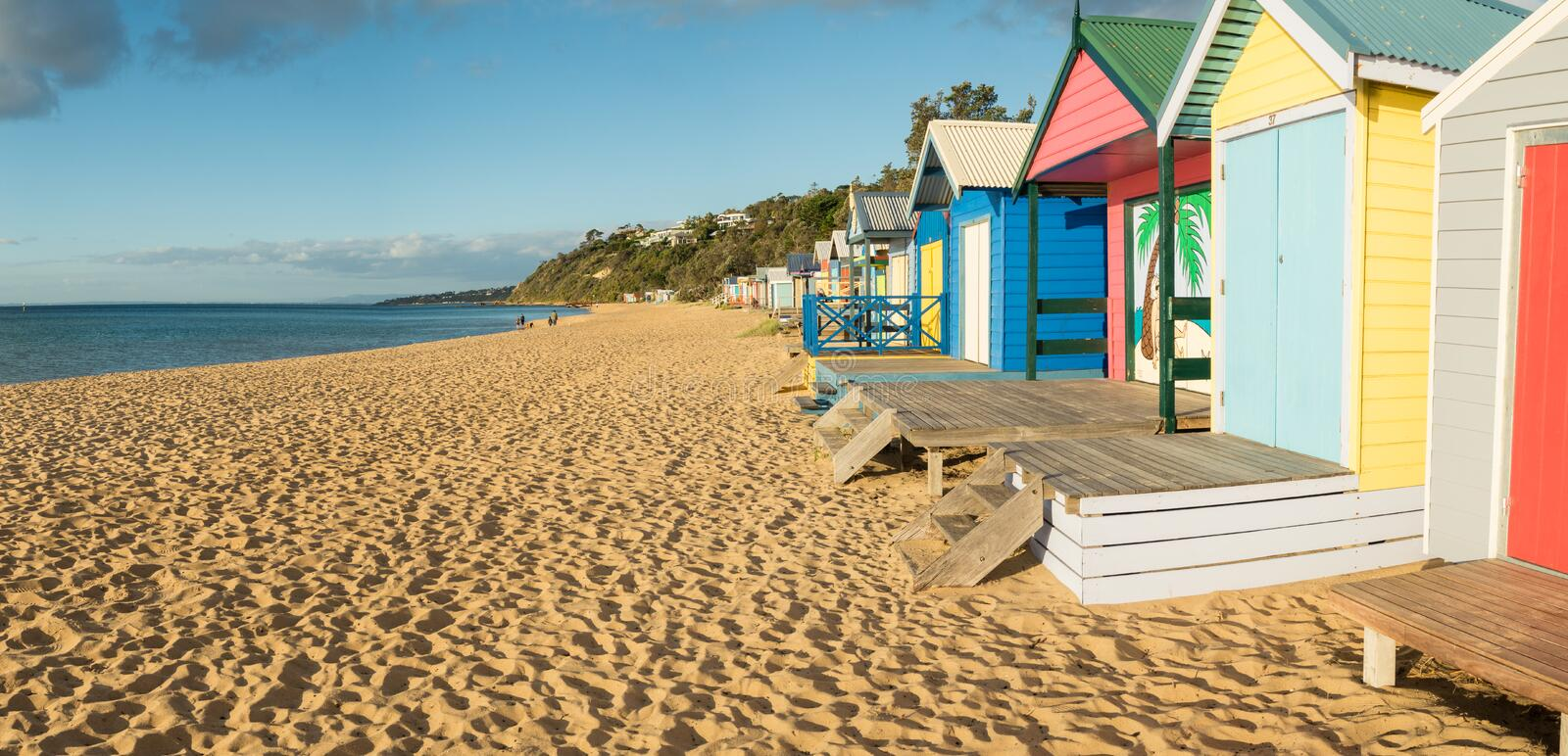 Scatole di bagno Colourful in Mornington sulla penisola di Mornington fotografie stock
