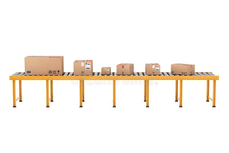 Scatole di cartone del pacchetto sopra la linea del trasportatore a rulli rappresentazione 3d illustrazione di stock