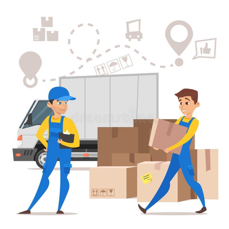 scatole di cartone di trasporto dell'uomo dei motori dei caricatori Concetto per muoversi domestico illustrazione di stock