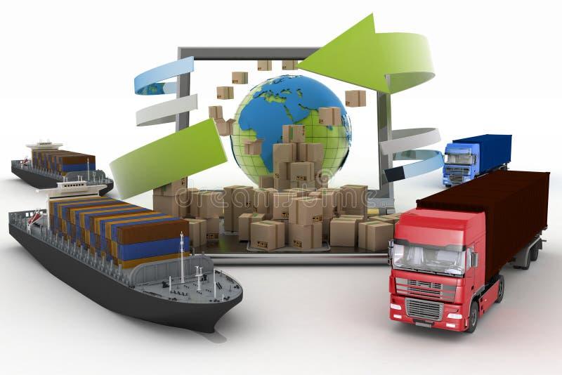 Scatole di cartone intorno al globo su uno schermo del computer portatile, su due navi da carico e su due camion royalty illustrazione gratis