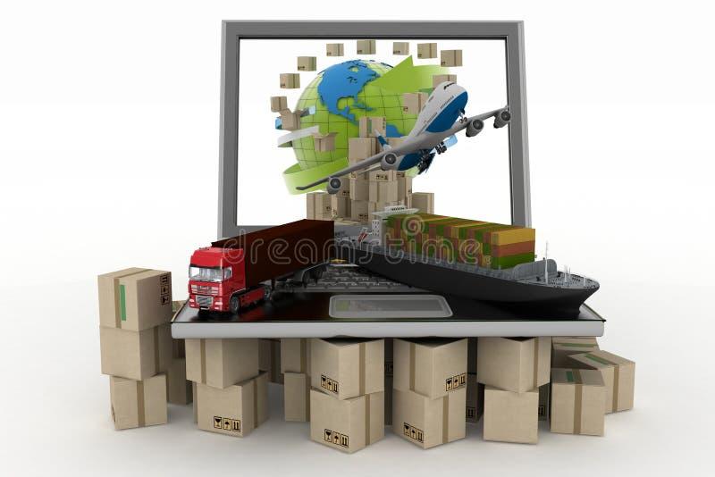 Scatole di cartone intorno al globo sullo schermo del computer portatile, sulla nave da carico, sul camion e sull'aereo illustrazione di stock