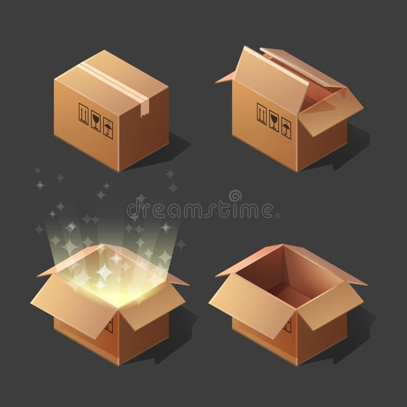 Scatole di cartone isometriche del fumetto divertente aperte ed insieme chiuso illustrazione di stock