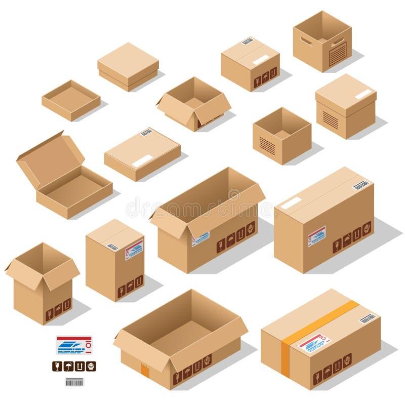 Scatole di cartone messe illustrazione di stock