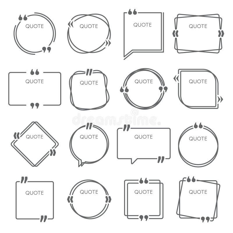 Scatole di citazione Le strutture di citazioni di frase, citano l'insieme della scatola di citazione di commento e del modello di royalty illustrazione gratis