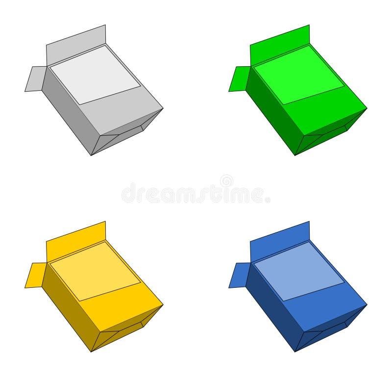Scatole di colore su fondo bianco illustrazione di stock