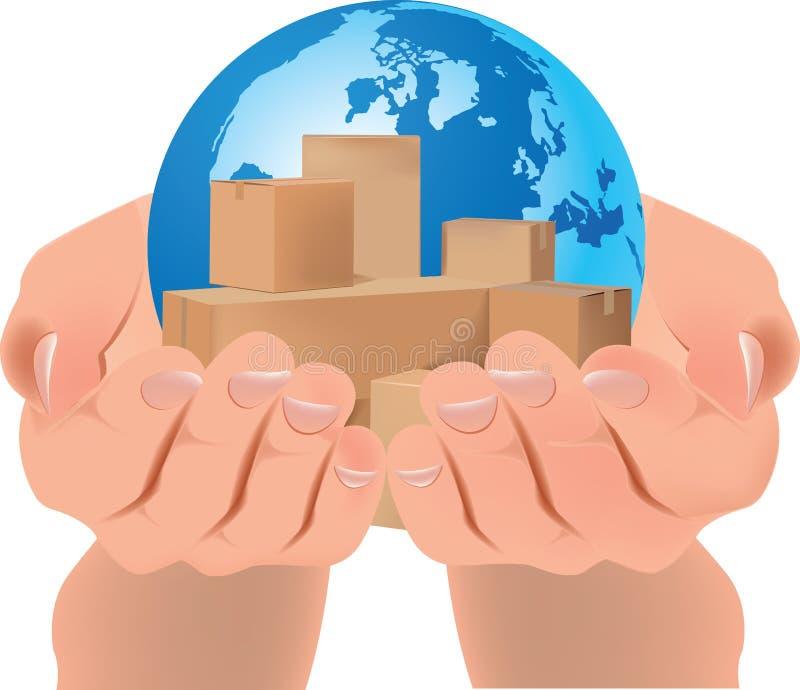Scatole di imballaggio a mani nude sul pianeta royalty illustrazione gratis