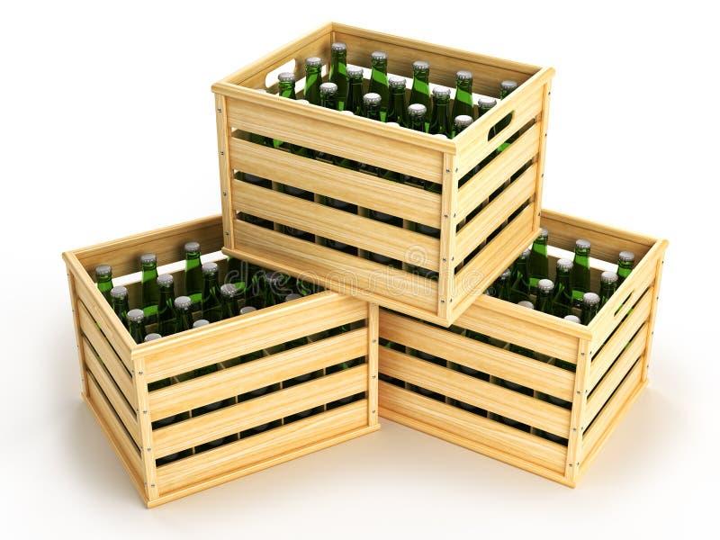 Scatole di legno con le bottiglie di birra verdi illustrazione di stock