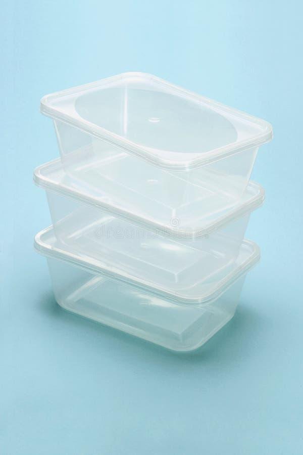 Scatole di plastica trasparenti vuote fotografie stock libere da diritti