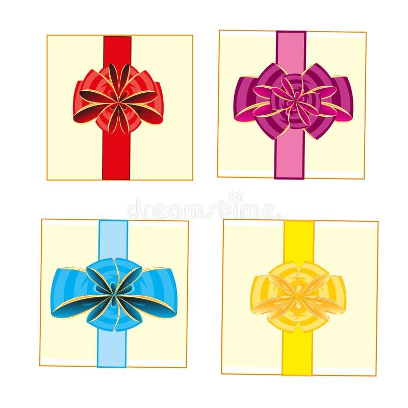 Scatole di Podarochnye con l'arco del vario del colore illustrazione di stock