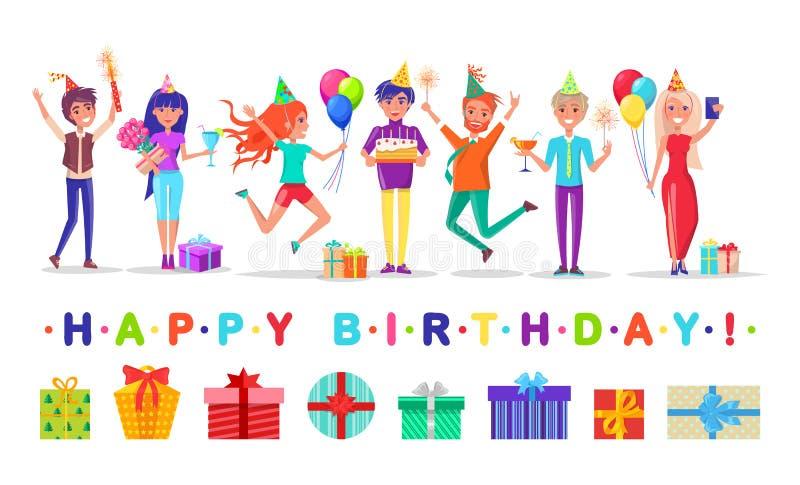 Scatole ed ospiti attuali, partito di buon compleanno illustrazione vettoriale