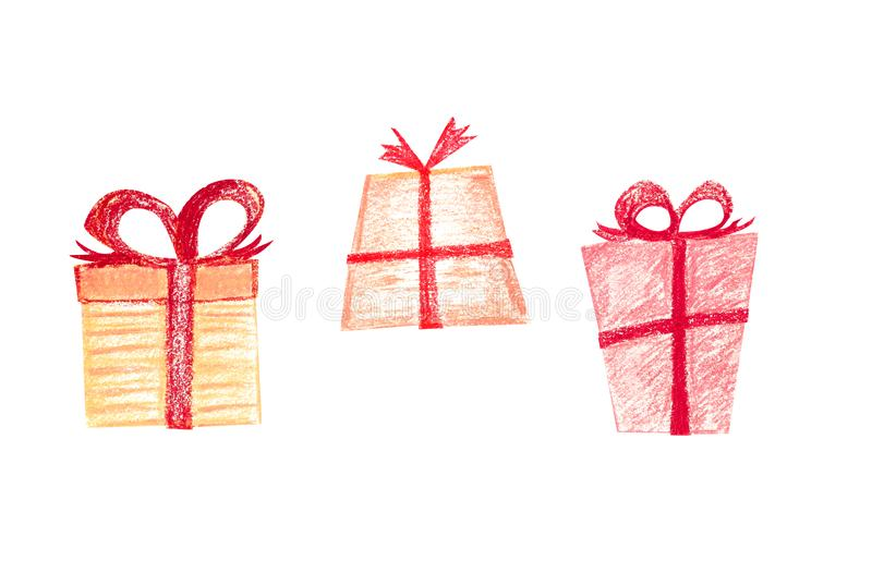 Scatole festive in carta da imballaggio con i nastri rossi illustrazione di stock