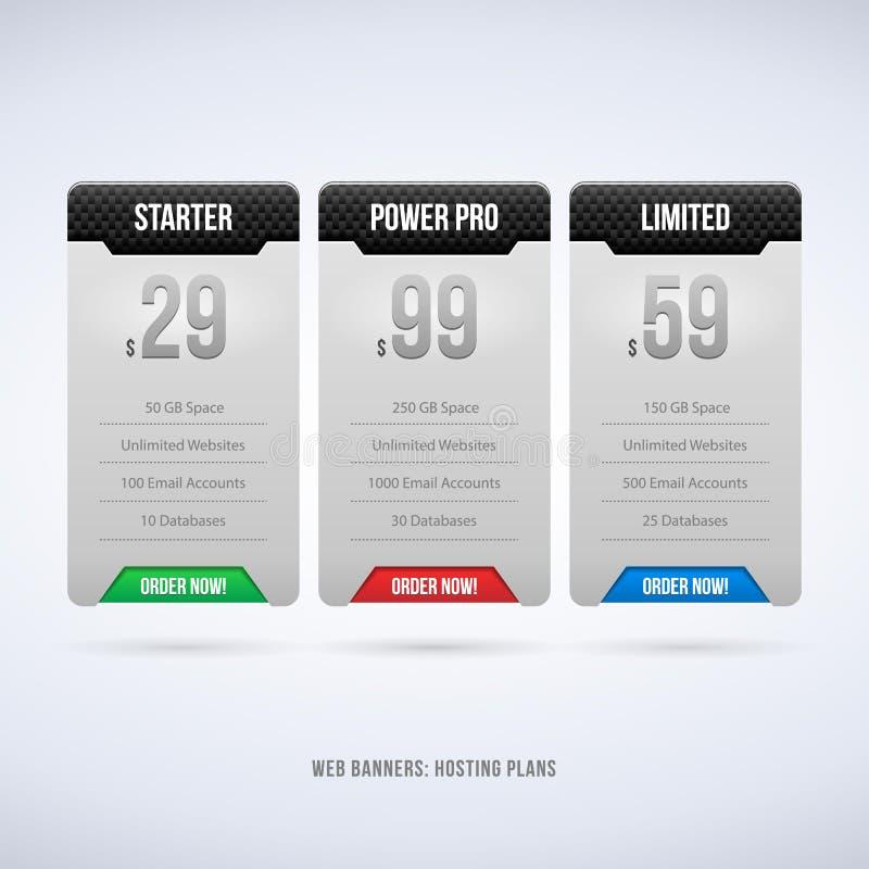 Scatole perfette di web che ospitano i piani per il vostro carbonio di progettazione del sito Web illustrazione vettoriale