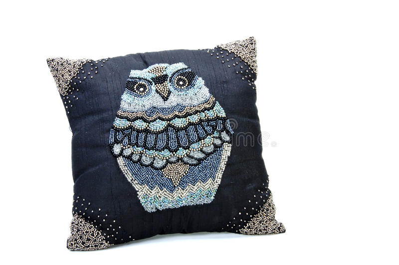 Scatter Cushion Embroided with Large Beaded Owl stock image