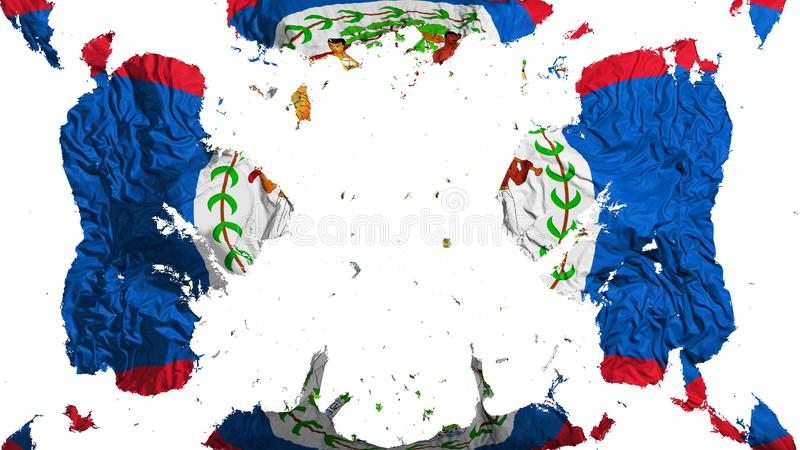 Scattered Belize flag. White background, 3d rendering stock illustration