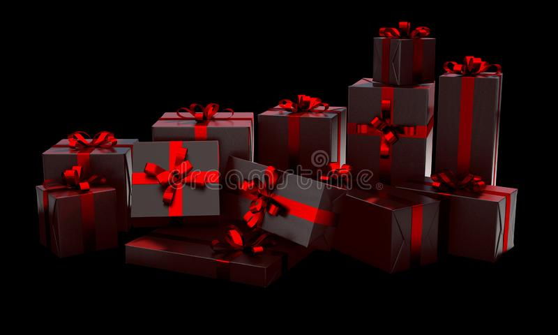 Christmas Gift Wrapped Boxes stock illustration
