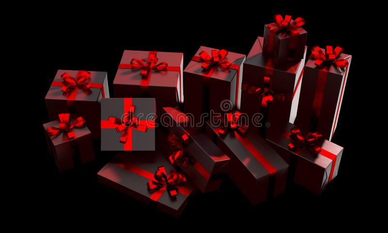 Scattered Gift Box Pile royalty free illustration