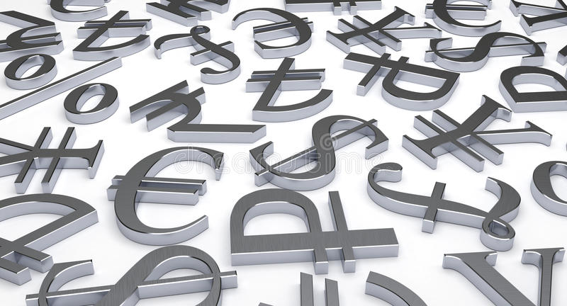 Scattered Currency Symbols stock image