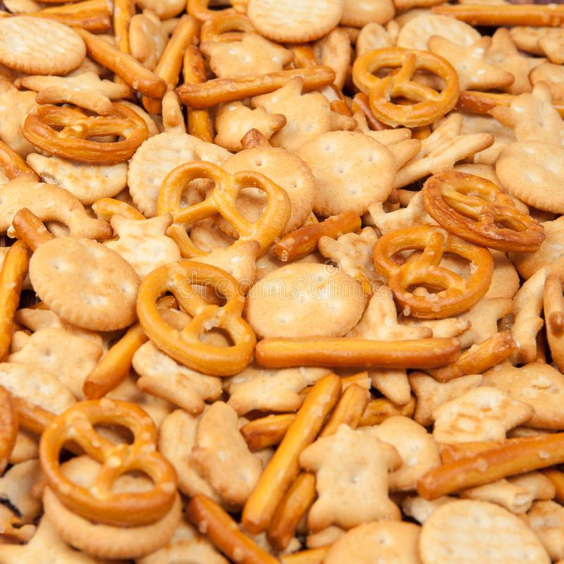 Scattered different cookies crackers ackground stock images