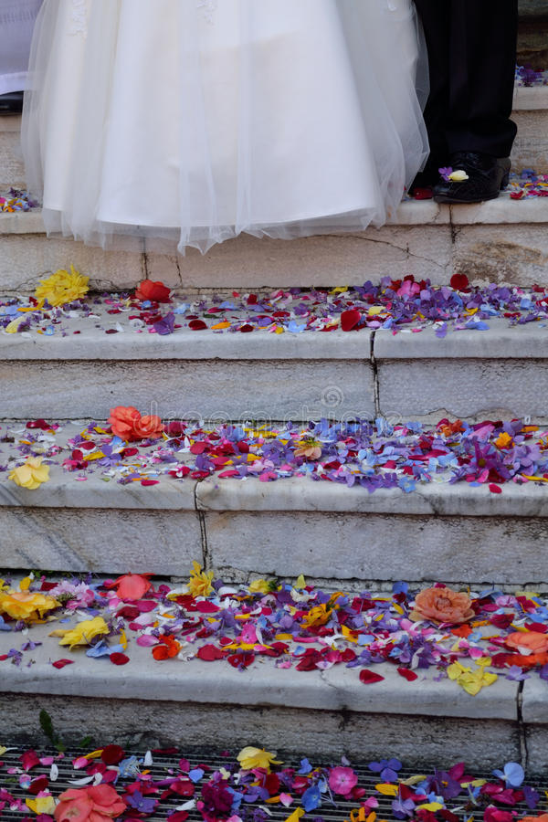 Scattered flowers at the wedding stock photos