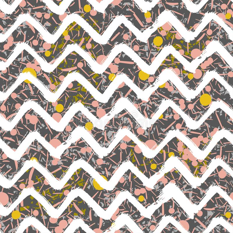 Scattered Geometric Line Shapes. Abstract Background Design. Vector Seamless Pattern. Chevron Zigzag Paint Brush Strokes royalty free illustration
